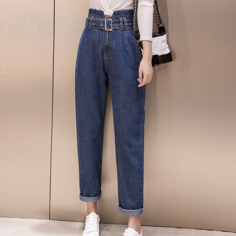 2019 Women Jeans Casual High Waist Trousers Pencil Pants For Ladies Grils Ankle Length Korean Style Blue