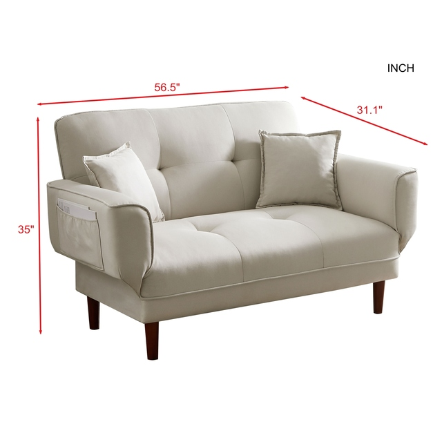 Expandable Relax Lounge Sofa Bed Sleeper with 2 Pillows 3-Color Fabric 56.5x31.1x35 Inch U.S. Stock 2