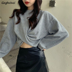 Women No Hat Hoodies Solid Knot Simple Crop-tops Pullover O-neck Sweatshirts Puff Sleeve Casual Stylish Chic Loose 2XL Ulzzang
