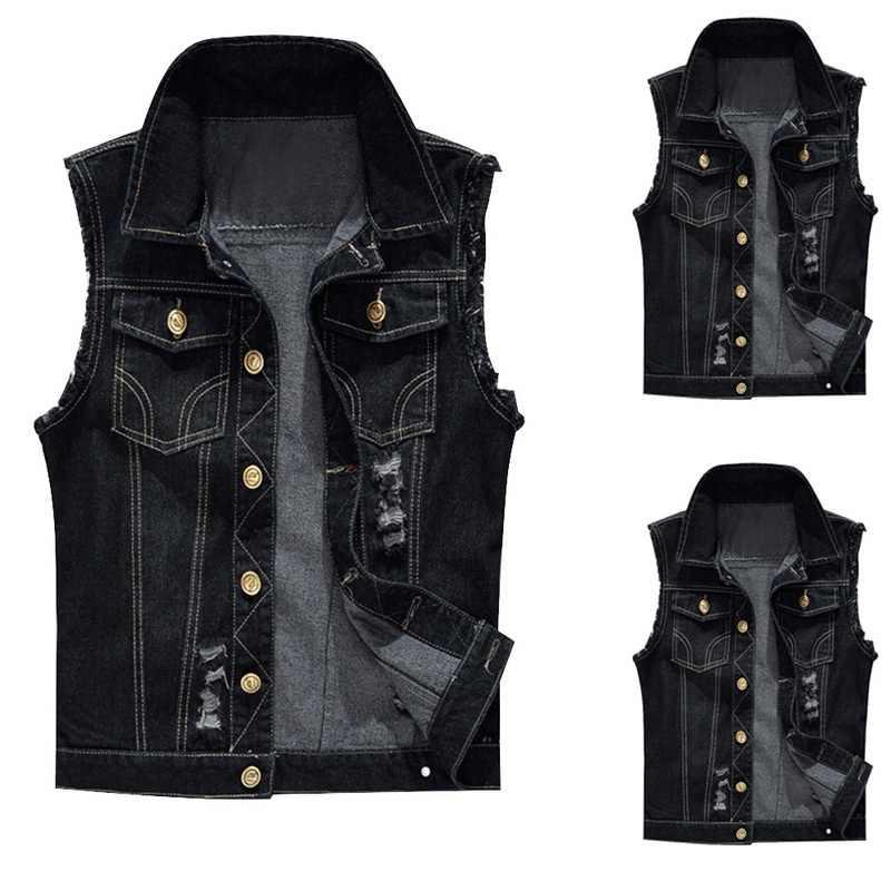Jodimitty Katoen Jeans Mouwloze Jas Vest Mannen Plus Size 6XL Zwart Denim Jeans Vest Mannelijke Cowboy Outdoors Vest Mens