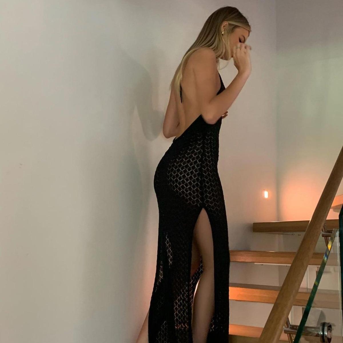 BOOFEENAA seksowna dzianina Halter bez pleców szczelina Maxi sukienka letnia sukienka plażowa wakacje stroje eleganckie sukienki C88-DF23