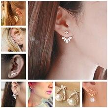 Hot Sale Stud Earrings For Women Love Heart Crystal Earring Gold Color Long Tassel Ear Cuff Statememt Jewelry Gift Wholesale стоимость