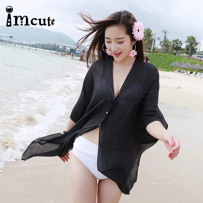 VImcute 2020 9 Color Sexy Bikini Cover Up Women Beach Dress Chiffon Plus Size Bathing Suit Maxi Dress Bandage Kimono Cardigan