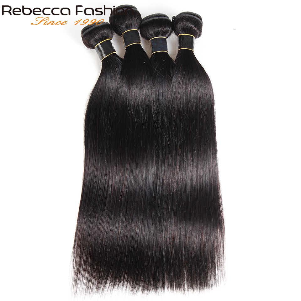 Rebecca 360 Kant Frontale Met Bundel Braziliaanse Steil Haar 3 Bundels Met 360 Frontale Sluiting Remy Human Hair Extensions