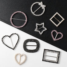 Clothes Knot Buckle Korean-style Pearl Clasp Summer Shirt T-shirt Hem Decoration Button Versatile Man-made Diamond Scarf Buckle(China)