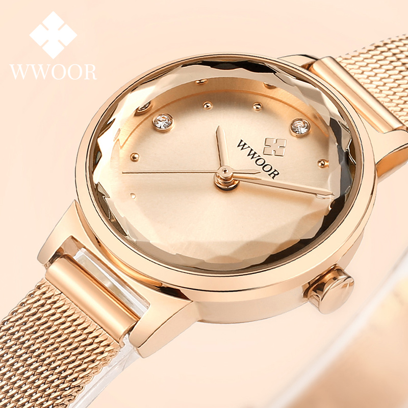 WWOOR Hot Fashion Women Watch Rose Gold Stainless Steel Mesh Watch Women Casual Dress Quartz Watch For Women Stylish Reloj Mujer