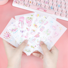 6PCS Cute Unicorn Notebook Sticker Toy Flamingo Stickers Smiling Face Decor For Laptop Phone Trunk Guitar Refrigerator