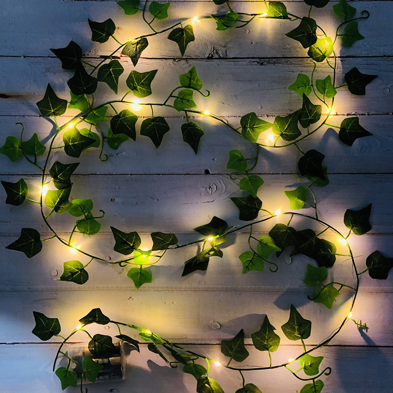 6Ft 20 LEDs Artificial Green Leaf Rattan Garland String Lights Fake Vine Ivy Fairy Light Wedding Party Home Christmas Decoration|Holiday Lighting| - AliExpress