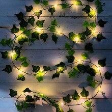 6ft 20 leds artificial folha verde rattan guirlanda luzes da corda falso videira ivy luz de fadas festa de casamento casa decoração de natal