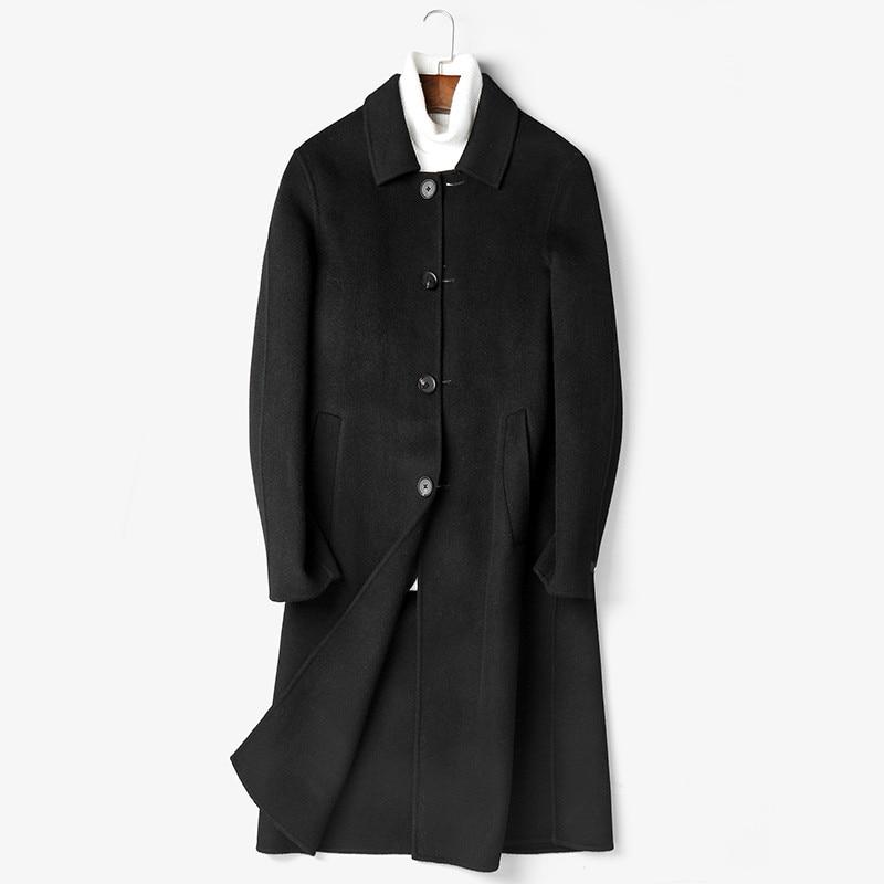 100% Wool Coat Autumn Winter Jacket Men Handmade Double-sided Woolen Coats Streetwear Long Jacket P-S8183Z MY1407