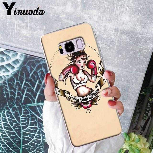 Yinuoda, guantes de boxeo de dibujos animados para chica, funda protectora de lujo de gama alta para Samsung S5 S6 S6 edge S7 edge S8 Plus S9 Plus, carcasa Coque