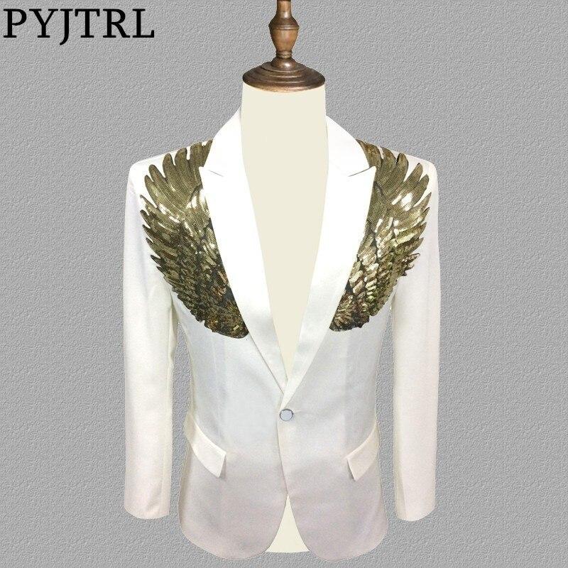 PYJTRL Blazer Men Stylish White Gold Wing Sequins Slim Fit Shiny Blazers Party Prom Stage DJ Singers Suit Jacket Costume