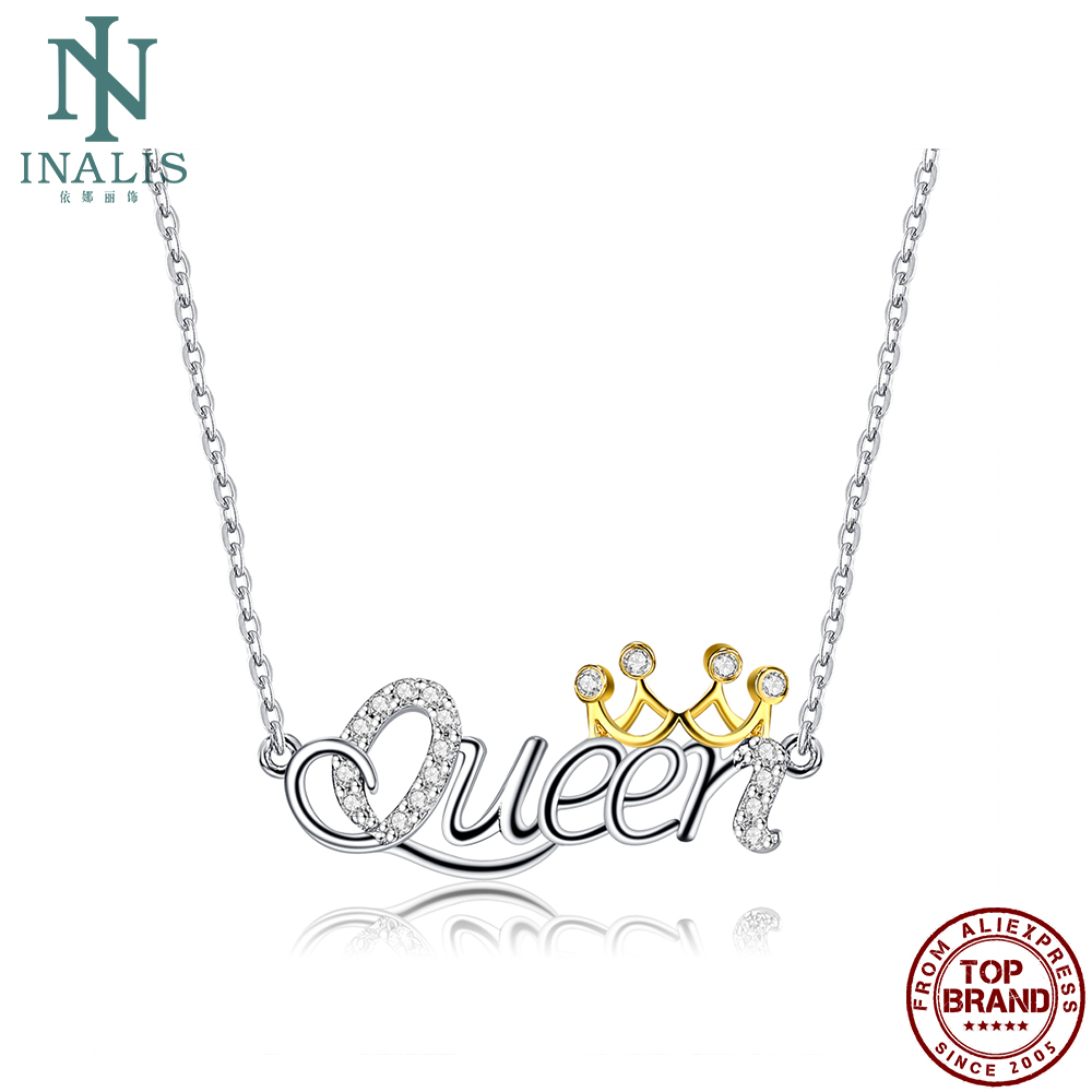 INALIS S925 Sterling Silver Women Necklace Queen Luxury Pendant Necklaces Crown Fine Jewlery New Arrivals Mother's Day Gift