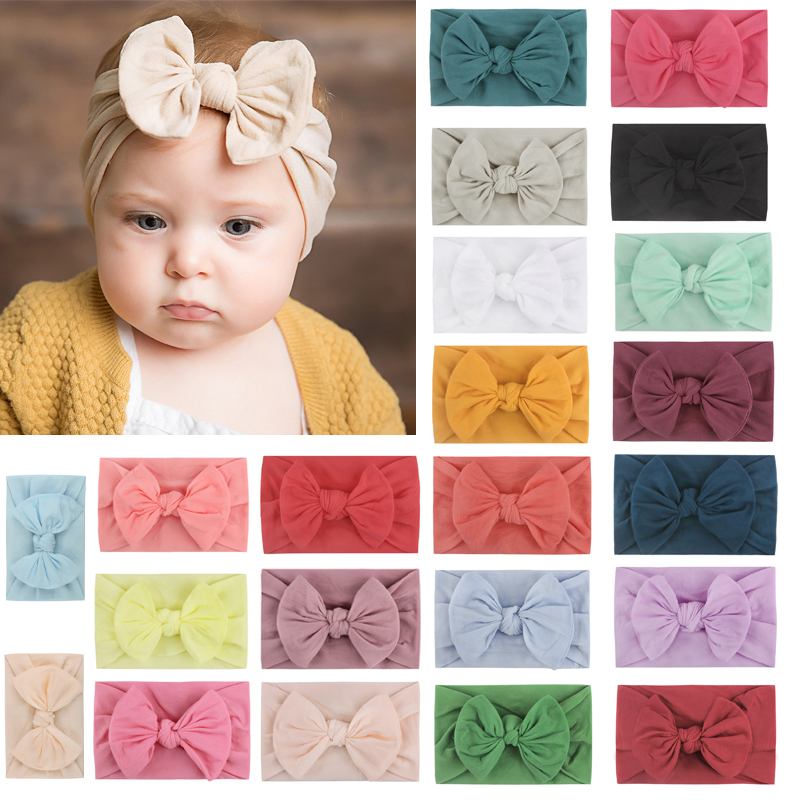 Balleenshiny 23color Nylon Bow Baby Headband Ins Infant Baby Hairband Super Soft Baby Girl Hair Accessories For Newborn Toddler