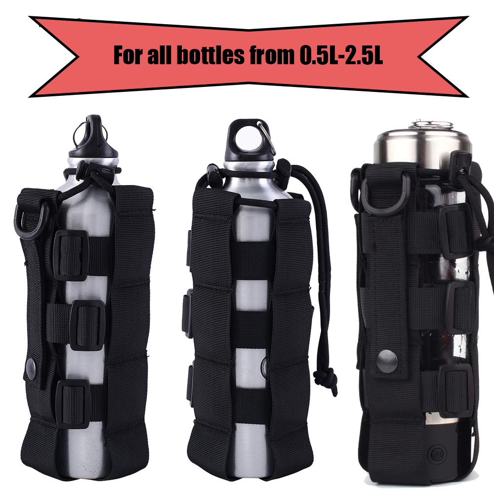 0.5L-2.5L Molle Water Bottle Holster Adjustable Military Canteen Cover Pouch Tactical Outdoor Hunting Camping Travel Kettle Bag