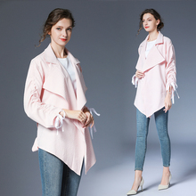 Popular Trend Hot Sale Striped Thin Irregular Cardigan Shirt Women Long Coat Color Pink Sweet Ladies