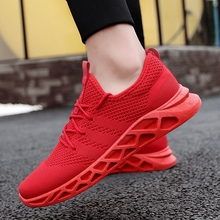 ALDOMOUR Breathable Running Shoes Casual Male Sneakers Deodorant Mesh Fashion Mens All Red Size 39--44 K