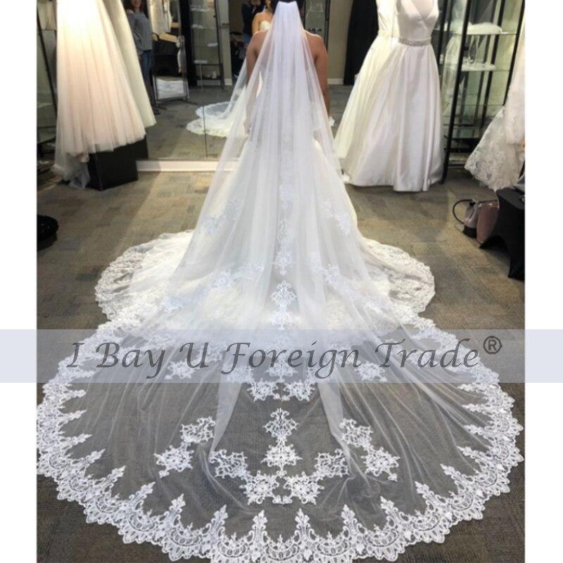 Кружевная Вышивка Свадебные аксессуары аппликация Женская Длинная свадебная вуаль с гребнем 2020 Vestido De Noiva Longo