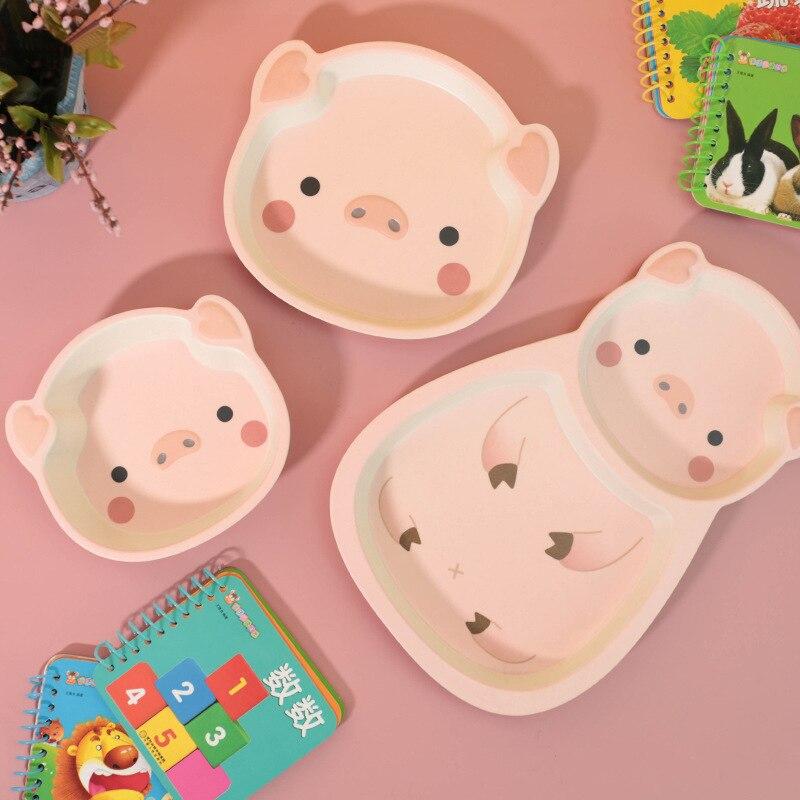 Детская столовая посуда из бамбукового волокна, набор обеденных тарелок в форме свиньи, тарелка для кормления ребенка, милая тарелка с муль...