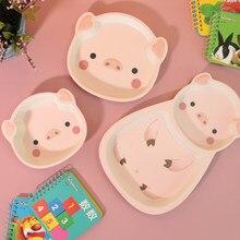 Service de table en fibre de bambou pour enfants, assiette en forme de cochon, alimentation pour bébé, bol mignon avec animaux de dessin animé anti-chute