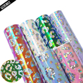 QIBU 22*30cm Laser Leopard Fabric Shiny Glitter Colorful Faux Leather Sheets DIY Hairbow Materials A4 Bags Crafts Accessories