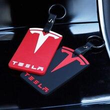 ใหม่รถจัดแต่งทรงผมคีย์การ์ดกรณีป้องกันซิลิโคนฝาครอบตกแต่งภายในสำหรับTeslaรุ่น3อุปกรณ์เสริม