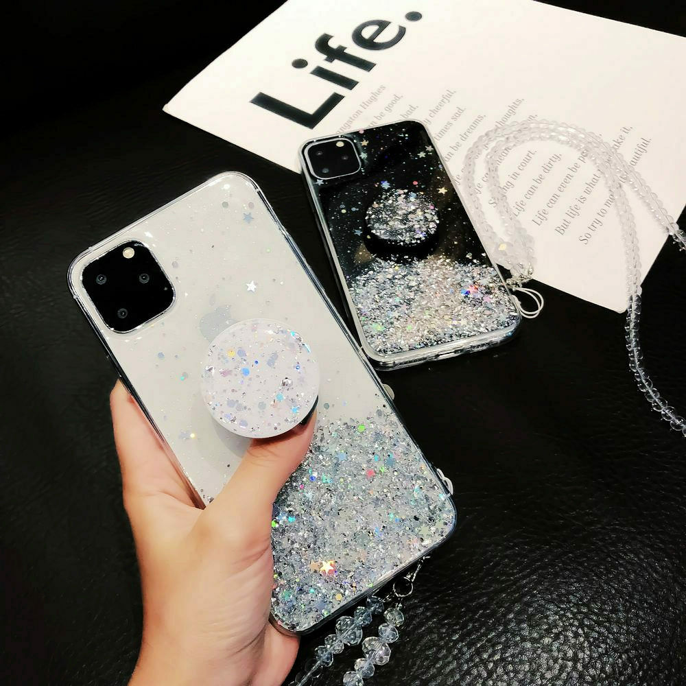 Bling Glitter Case For iPhone 11 Pro Max 11 Pro 11 XS XR X XS Max 6s 6 7 8  PlusSlim Case With Stand Holder Phone Cases Socket 3