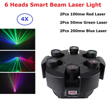 6 Heads Moving Head Light Professional Disco Laser Lights RGB Beam Light Dj Effect Laser Projector Scanner Laser Stage Lighting free shipping 4 heads 60w led mini beam moving head light professional stage dj lighting dmx controller disco projector lasers