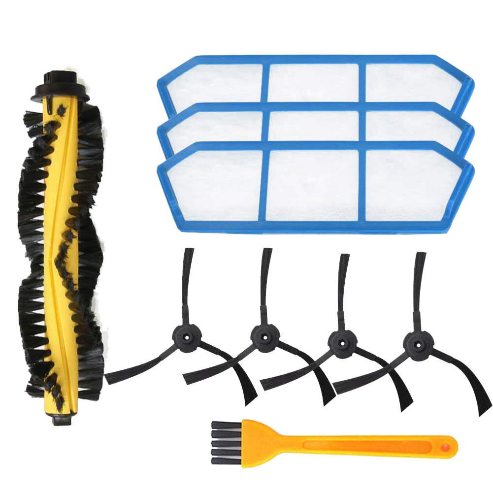 Top Deals Accessory Kit for ILIFE A6 A4 A4s Robot Vacuum Cleaner Replacement Parts Pack of 1 Main Brush 3 Hepa Filters 4 Side Br|Vacuum Cleaner Parts| |  - title=