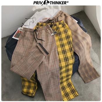 Privathinker mężczyźni kobiety koreańska czarna chusta dorywczo spodnie 2020 męskie Streetwear Harem spodnie męskie spodnie w kratkę Plus rozmiar tanie i dobre opinie Mieszkanie COTTON Poliester NONE Luźne Casual Pants Na co dzień Midweight Suknem Kostki długości spodnie Sznurek Streetwear Hip Hop Tshirts
