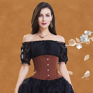 Image 2 - Underbust Steampunk Steel Boned Corset Tummy Control Gothic Corsets Cincher with Curved Hem Bustiers Embroidery Waist Trainer