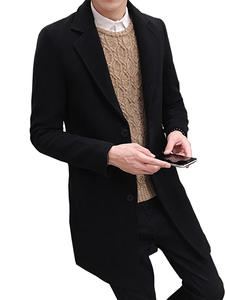 Woolen Coat Jackets/casual Long-Sections Winter Fashion Pure-Color New Leisure Men