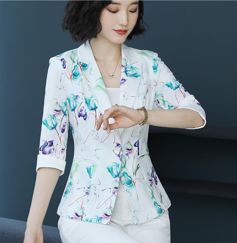 2020 Korean Women Print Slim Notched Blazers And Jackets Three Quarter Sleeve One Button Formal Work Wear Female Office Plus Siz
