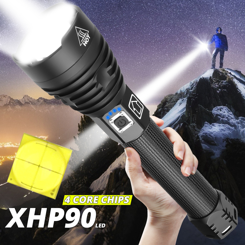 2020 Latest 300000lm Powerful XHP90.2 LED Flashlight Zoom Torch XHP70 USB Rechargeable Waterproof Lamp Use 18650 26650 Camping