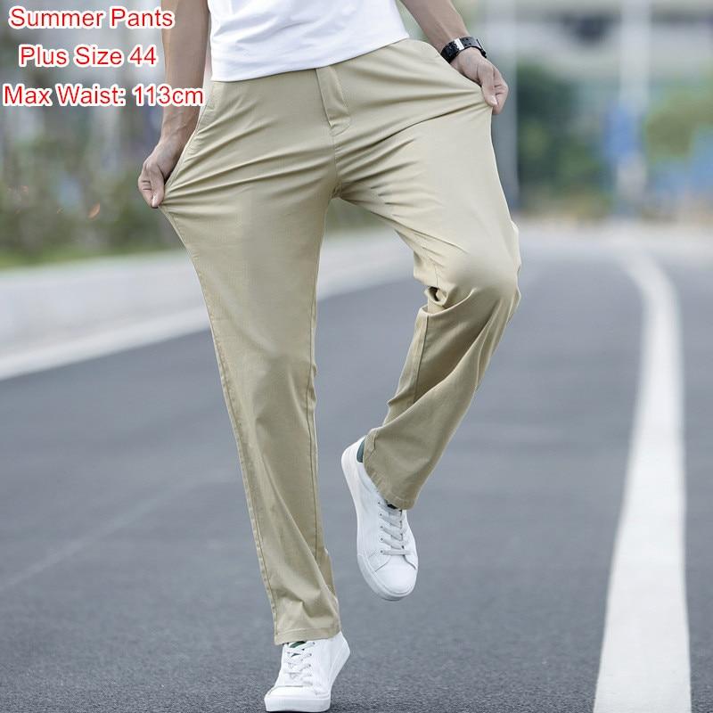 Pantalon Pants Summer Men Thin Fitness Chinos Fashions Khaki Grey Black Trousers Plus Size 40 42 44 Mens Slim Straight Pant