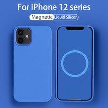 Płynny silikonowy pokrowiec na IPhone 12 Pro Max magnetyczny silikonowy pokrowiec na iPhone 12 Pro 12 Mini Magsafing Case bezpieczna ochrona