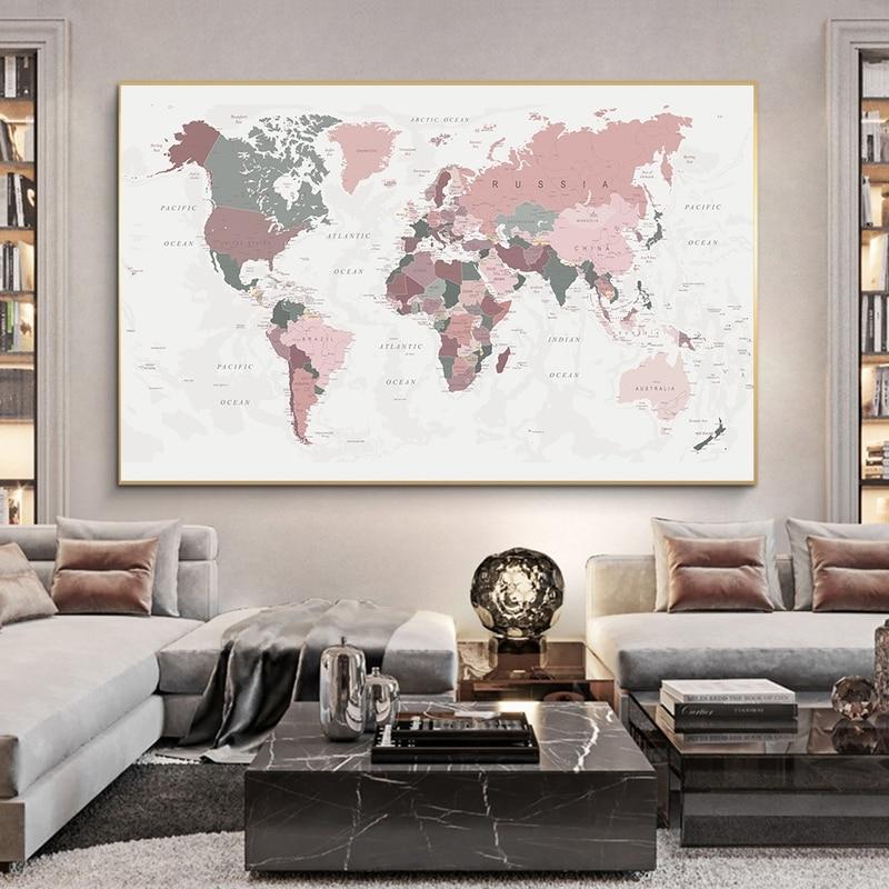 Nouvelle carte du monde toile impression Blush rose & chasseur vert carte du monde affiche mur Art photo peinture décor sans cadre