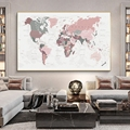New World Map Canvas Print Blush Pink & Hunter Green Map of The World Poster Wall Art Picture Painting Decor Unframed
