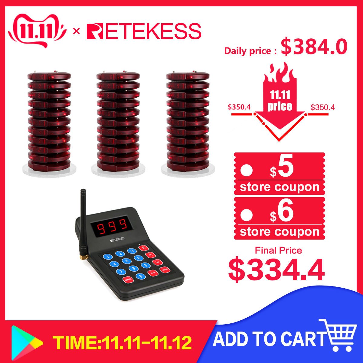 RETEKESS 999 Channel Restaurant Pager Wireless Paging Queuing Calling System Buzzer For Cafe Shop Church Restaurant Equipment-in Pagers from Computer & Office