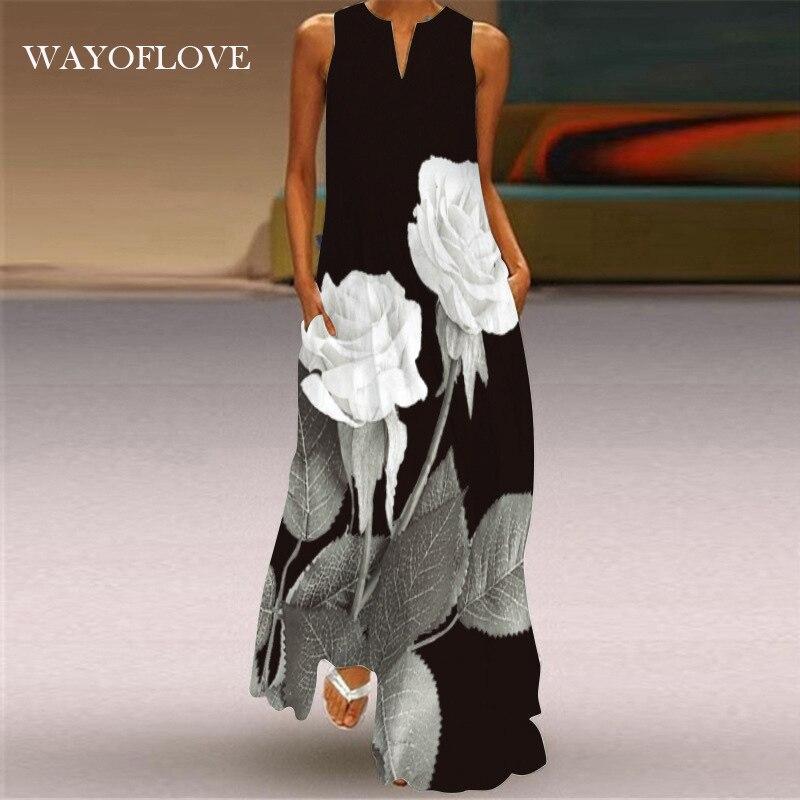 WAYOFLOVE Элегантное Длинное платье без рукавов Платье черного цвета 2021 повседневная одежда размера плюс длинные платья летние пляжные женские...