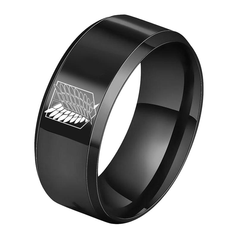 Anime Attack on Titan Titanium Stainless Steel Ring Shingeki no Kyojin Wings Of Liberty Finger Rings For Men Women Anime Fans