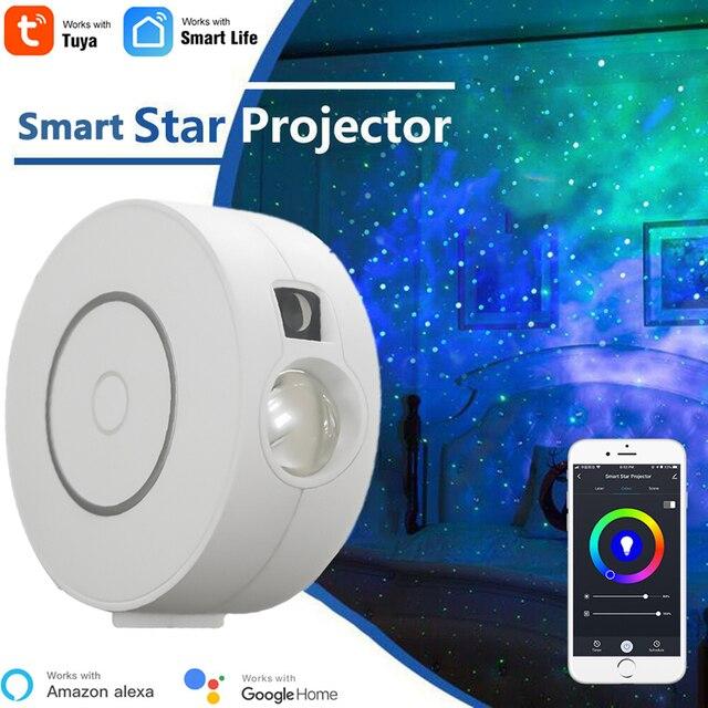 Tuya Smart Star Projector WiFi Laser Starry Sky Projector Waving Night Light Led Colorful APP Wireless Control Alexa Compatible