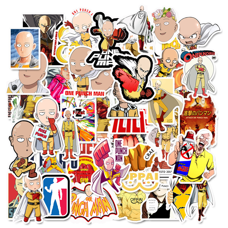 49Pcs/lot ONE PUNCH MAN Series Graffiti Stickers Laptop Suitcase Motorcycle Refrigerator Auto Accessories Toy Style Sticker