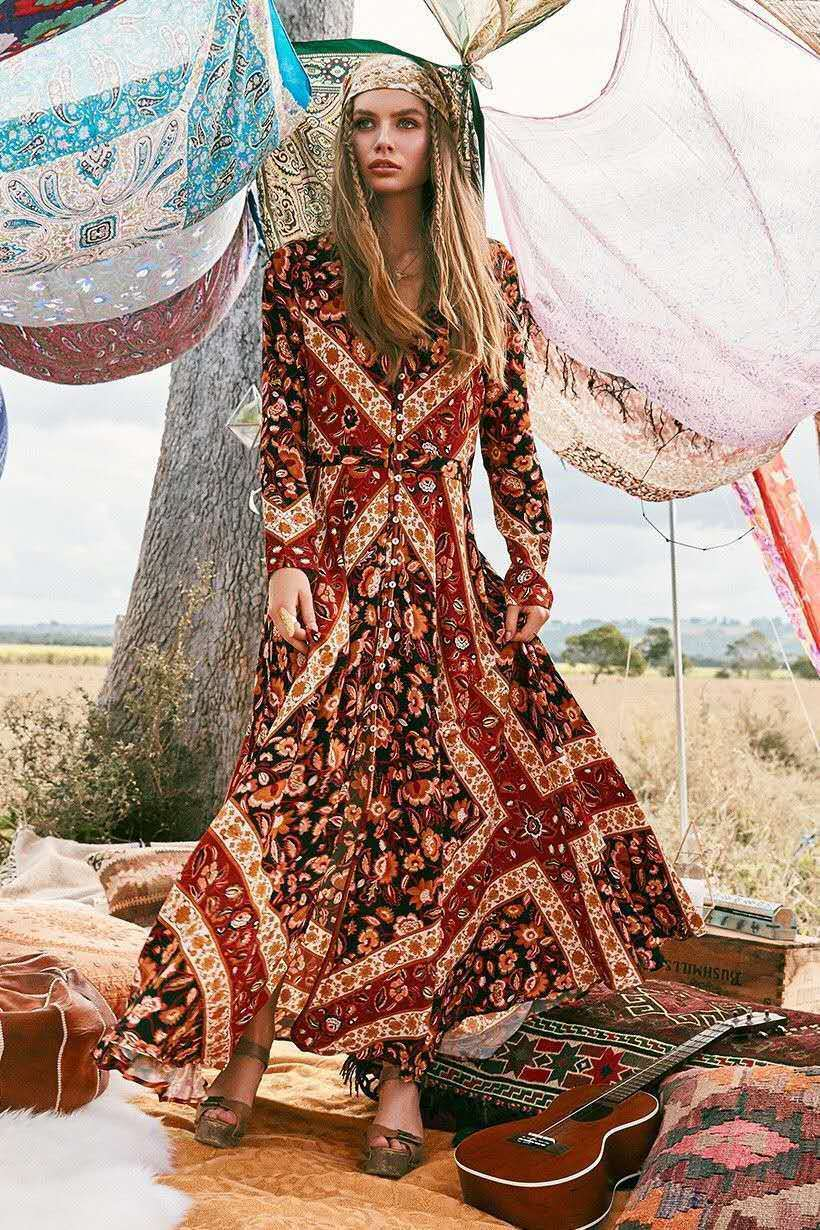 Maxi Boho robe 2019 automne imprimé Floral ethnique col en v manches longues femmes robes vacances bohème Femme robes Chic vêtements