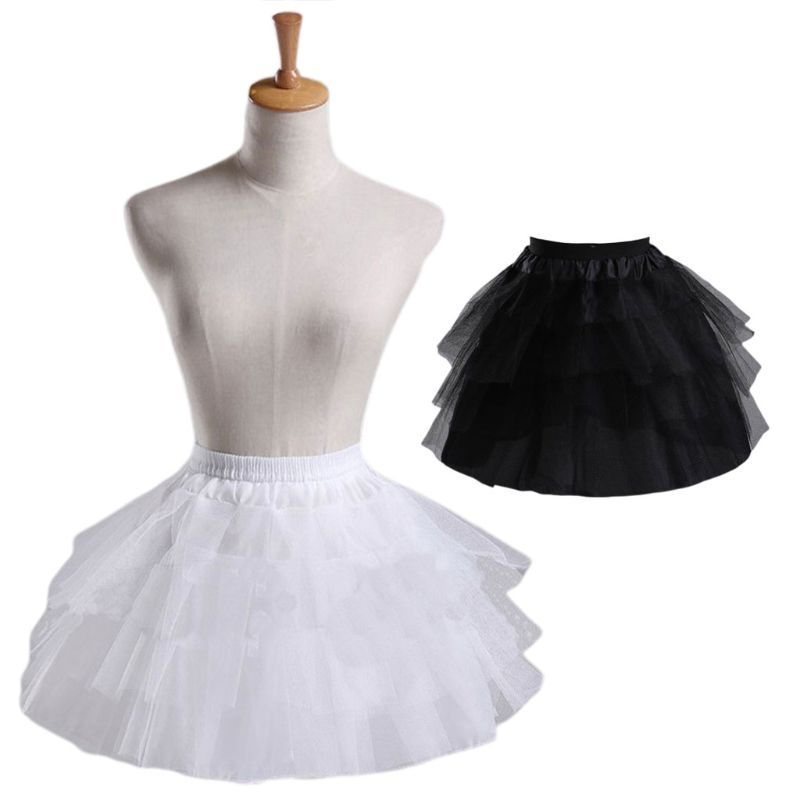 Cosplay Maid Wear Lolita Pettiskirt Short No Hoops Petticoat Girls Ballet Mesh Yarn Skirt Petticoats