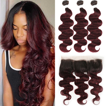 Human-Hair-Bundles Brown Body-Wave Frontal-13x4 With Closure Brazilian Ombre Red Non-Remy