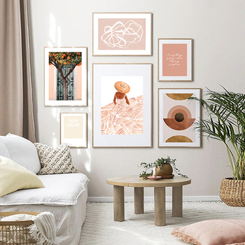 Sabina Fenn Madame Fleur Orange Tree Abstract Line Poster Canvas Painting Wall Art Prints Picture Living Room Home Decoration image