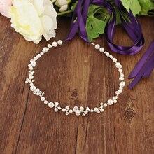Bridal-Belts Wedding-Accessories Crystal Dress Pearl for Headband Sliver Handmade Thin