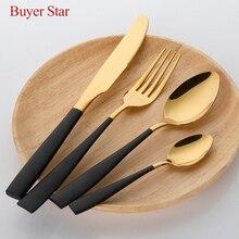 Conjunto de talheres blackgold em aço inoxidável, frete grátis, colher de sopa, faca de bife, garfo, jantar, conjunto de talheres para hotel