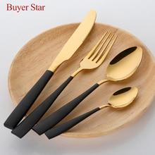 Free Shipping BlackGold Western Stainless Steel Cutlery Flatware Set soup spoon steak knife dinner fork Set Tableware for Hotel